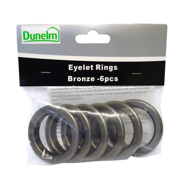 Pack of 6 Eyelet Rings Bronze