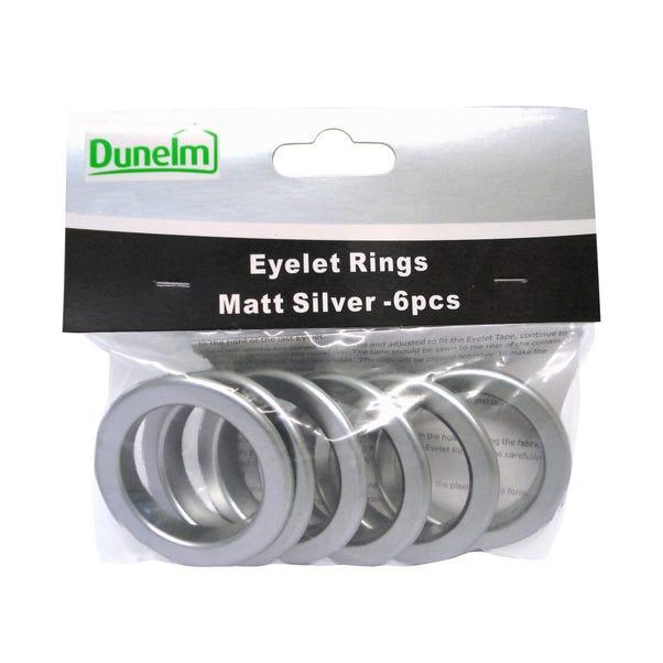 Pack of 6 Eyelet Rings Matt Silver