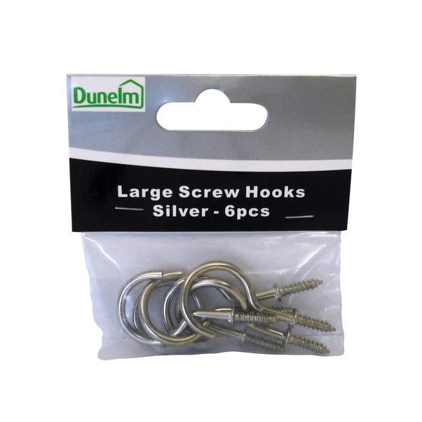 Large Brass Effect Screw Hooks Silver