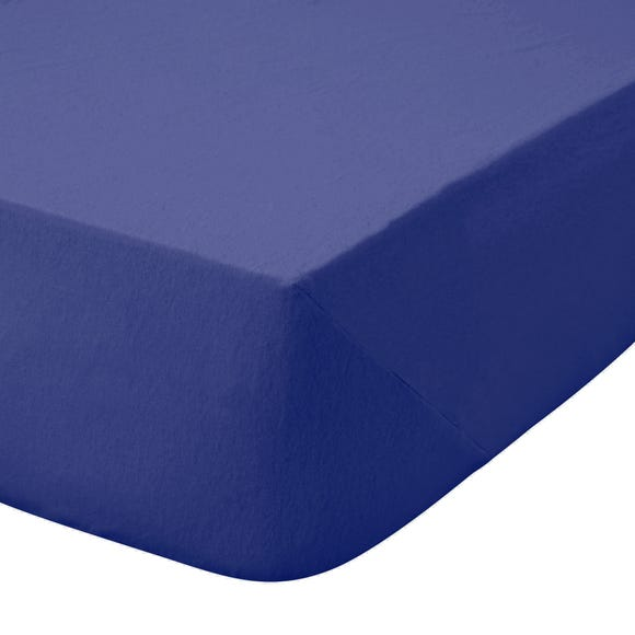 Kids Non Iron Plain Dye Navy Cot Bed Fitted Sheet