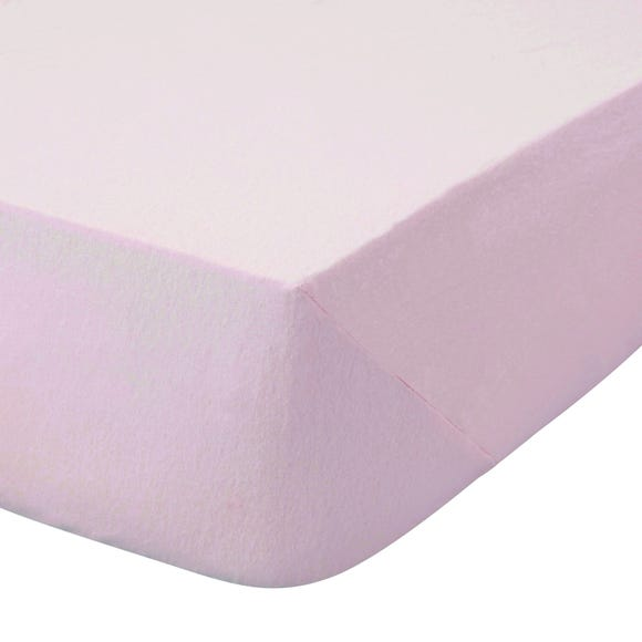 Kids Non Iron Plain Dye Pale Pink Cot Bed Fitted Sheet