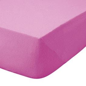 Kids Non Iron Plain Dye Fuchsia Cot Bed Fitted Sheet