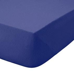 Kids Non Iron Plain Dye Navy 25cm Fitted Sheet