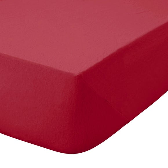 Kids Non Iron Plain Dye Red 25cm Fitted Sheet  undefined