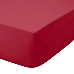 Kids Non Iron Plain Dye Red 25cm Fitted Sheet