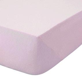 Kids Non Iron Plain Dye Pale Pink 25cm Fitted Sheet