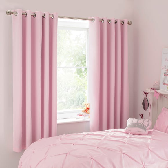 Mia Pink Blackout Eyelet Curtains Dunelm