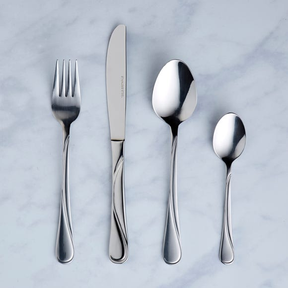 16 Piece Waves Cutlery Set Stainless Steel