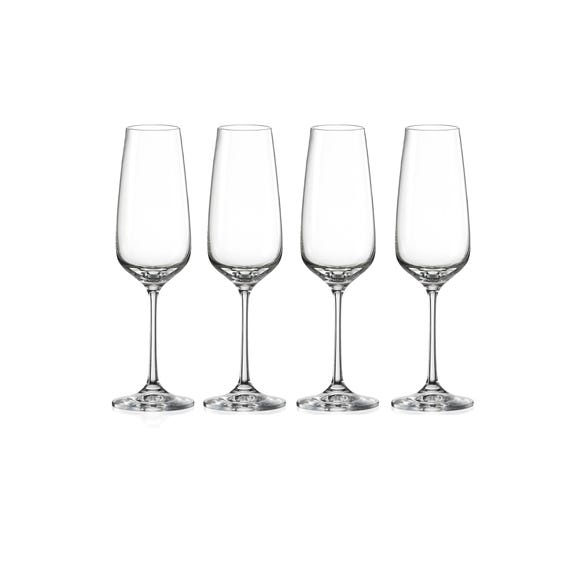 Dorma Set of 4 Cambridge Flutes Clear