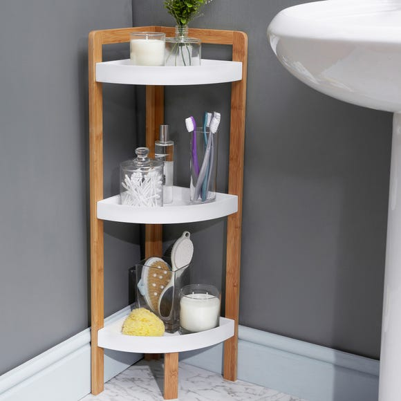Elements Bamboo 3 Tier Corner Caddy White