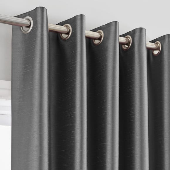 Montana Charcoal Eyelet Curtains Charcoal undefined