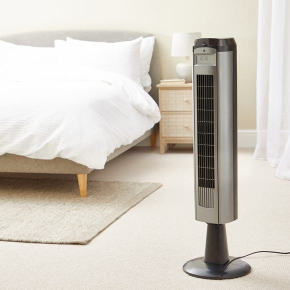 Grey 37 Inch Tower Fan With Remote Black