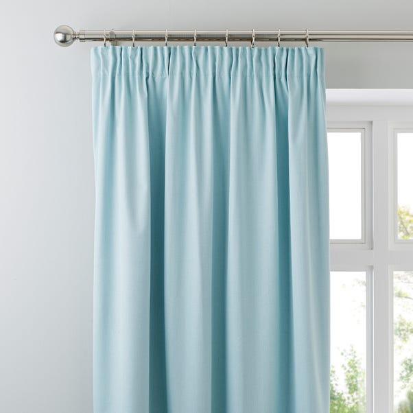 Solar Mint Blackout Pencil Pleat Curtains Mint (Blue) undefined