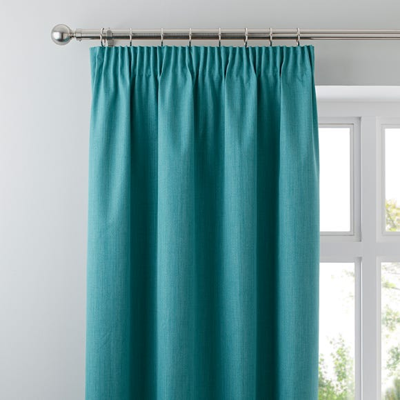 Solar Teal Blackout Pencil Pleat Curtains  undefined