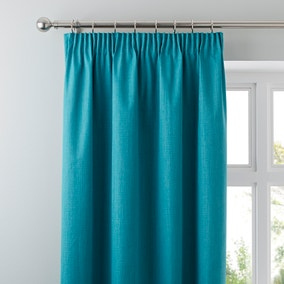 Solar Teal Blackout Pencil Pleat Curtains