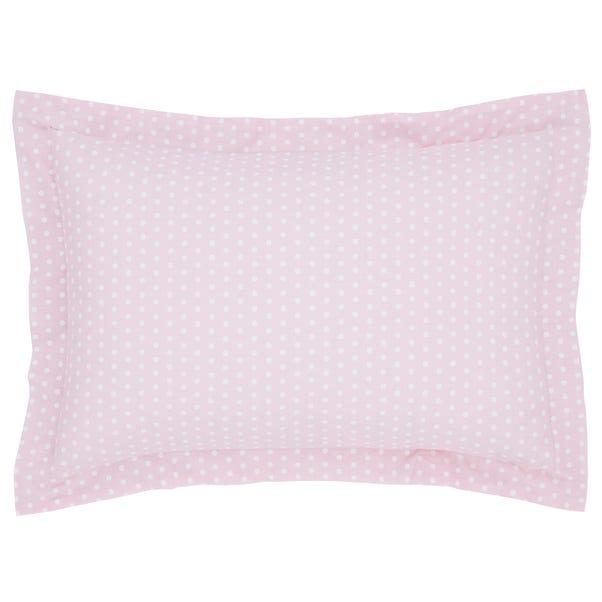 Fluffy Friends Pink Polka Dot Oxford Pillowcase Pink