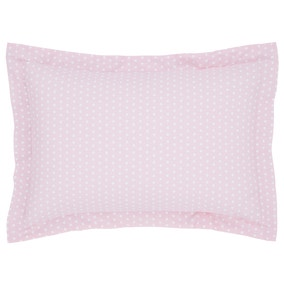 Fluffy Friends Pink Polka Dot Oxford Pillowcase