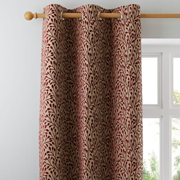 Willow Red Eyelet Curtains Red undefined