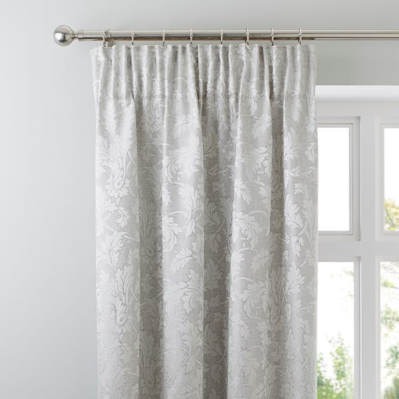 Canterbury Silver Pencil Pleat Curtains Silver undefined
