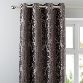 Versailles Charcoal Eyelet Curtains