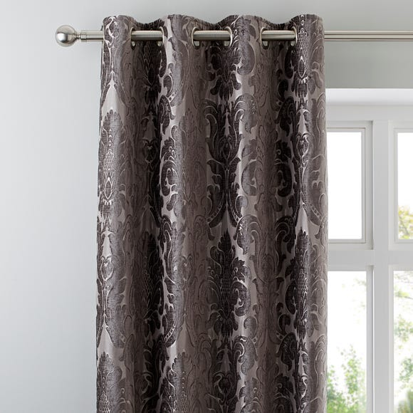 Versailles Charcoal Eyelet Curtains Charcoal undefined