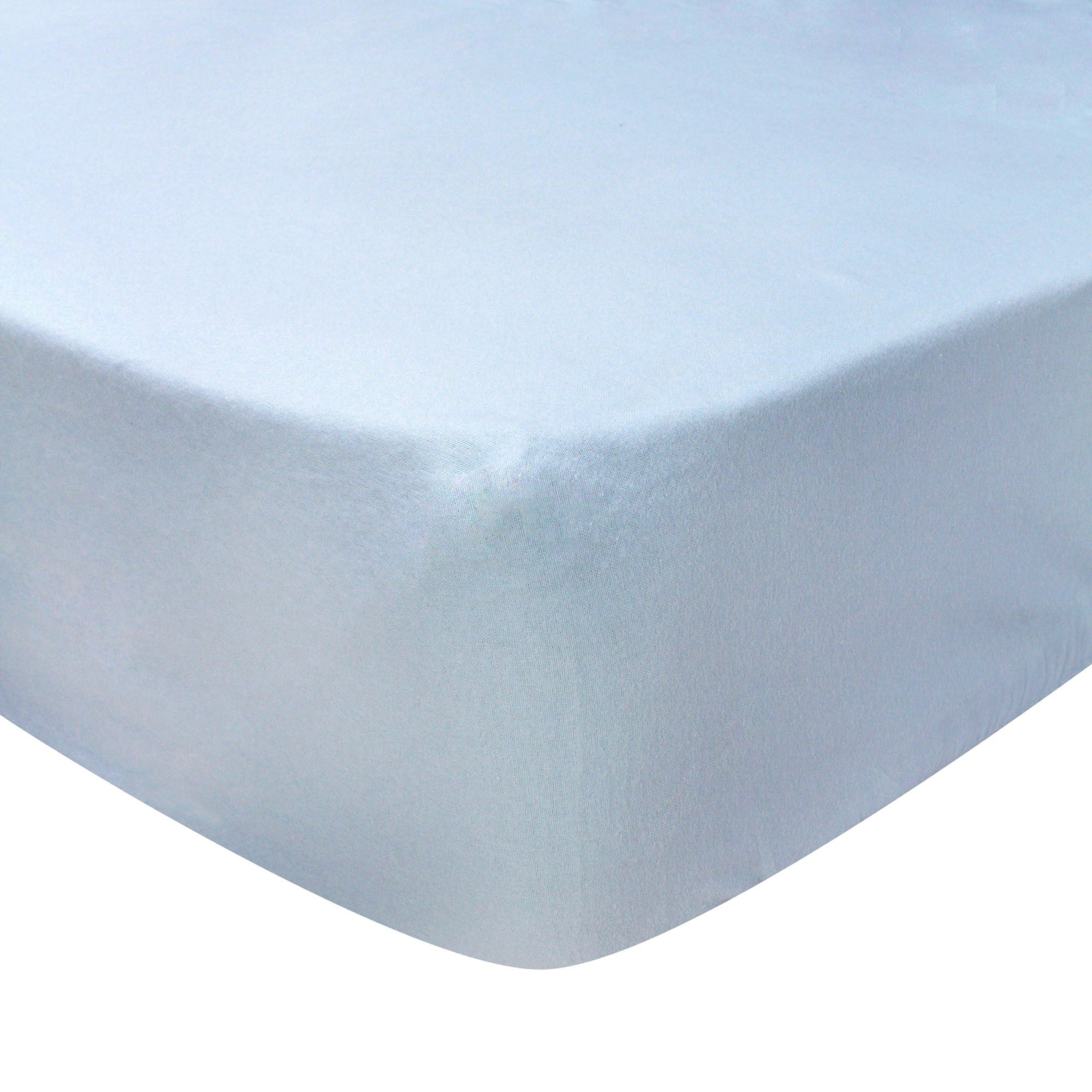 Photo of Luxury brushed cotton standard 28cm fitted sheet pale blue