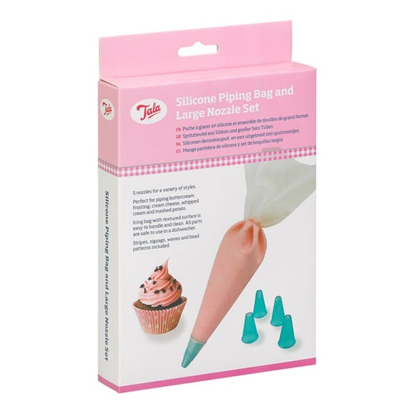 Tala Silicone Icing Bag With 5 Nozzles Pink