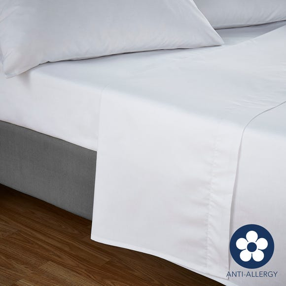 Fogarty 100% Cotton 180 Thread Count Anti Allergy White Flat Sheet White undefined