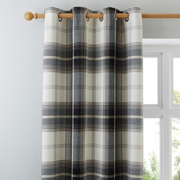 Highland Check Charcoal Eyelet Curtains Charcoal undefined