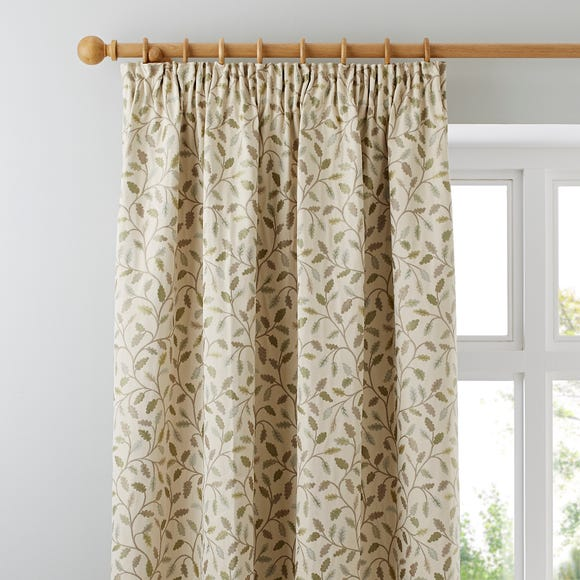 Heritage Glava Green Pencil Pleat Curtains  undefined