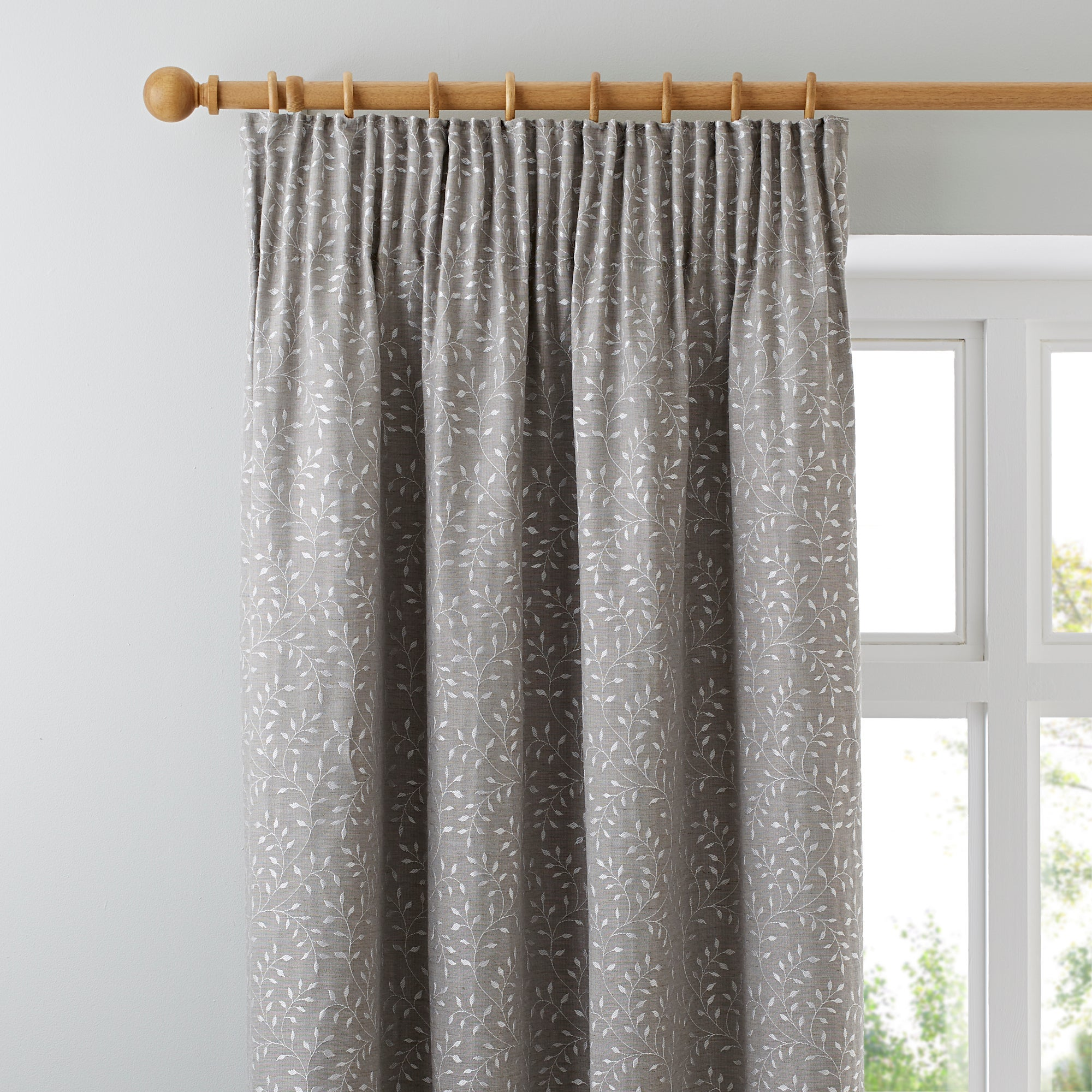 Photo of Windsor natural pencil pleat curtains natural