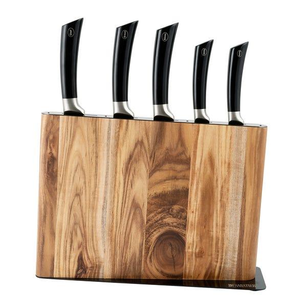 Sabatier Acacia 5 Piece Knife Block Brown