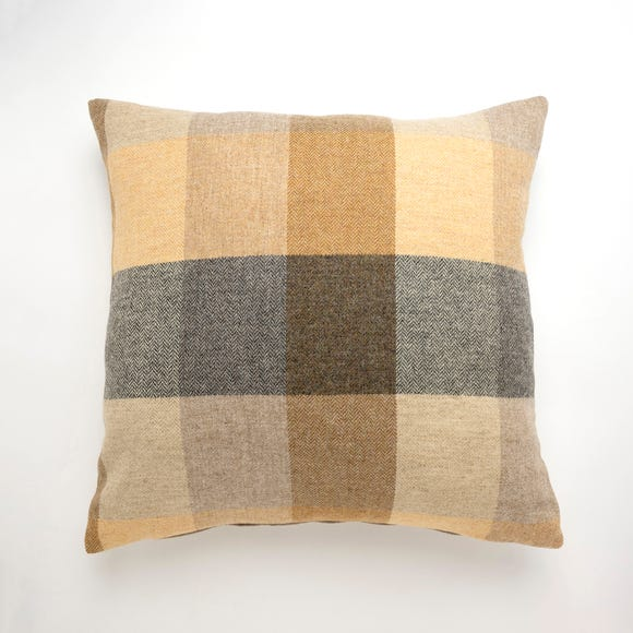 Large Heritage Check Cushion Ochre