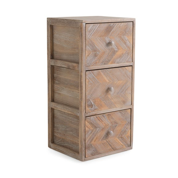 Chevron 3 Drawer Tower Brown