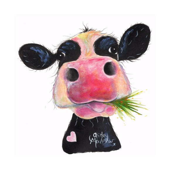 Shirley MacArthur Cow Printed Canvas Black and white