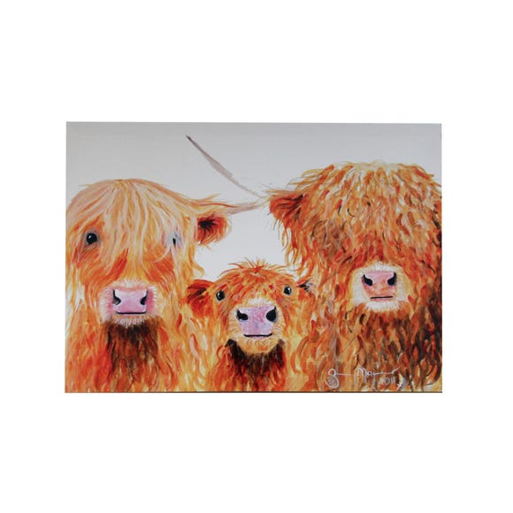 Shirley MacArthur Highland Cows Canvas Brown