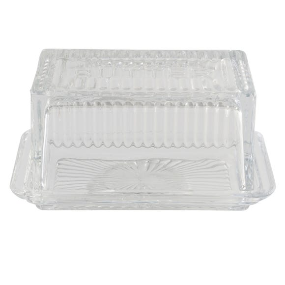 Vintage Glass Butter Dish Clear