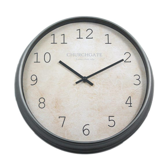 Churchgate Galvanised Effect 36cm Wall Clock Black Black