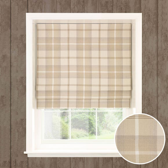 Highland Check Natural Blackout Roman Blind Natural undefined