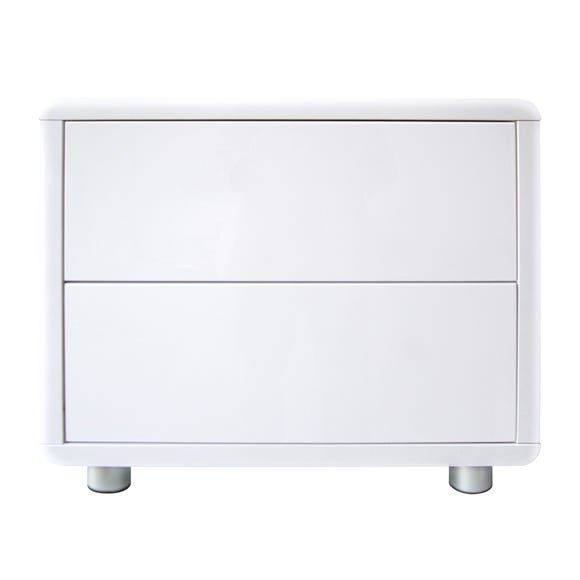 Soho White Gloss 2 Drawer Bedside Table White