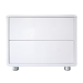 Soho White Gloss 2 Drawer Bedside Table