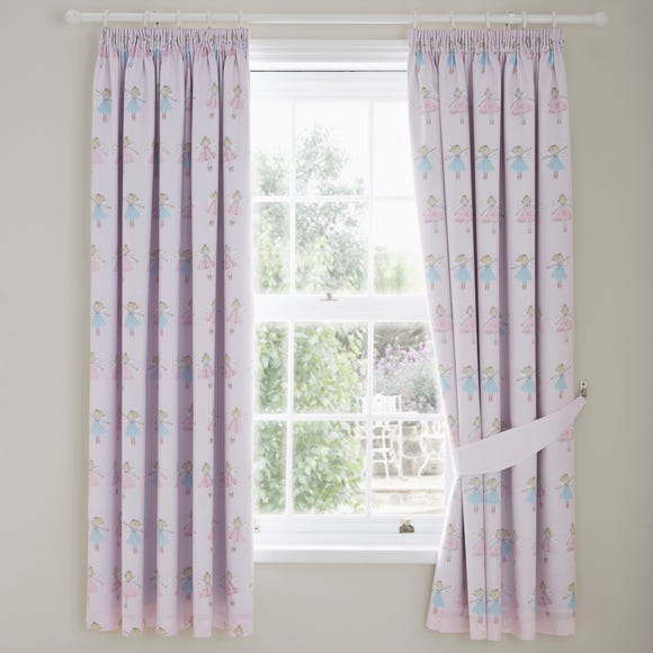 Fairies Pink Blackout Pencil Pleat Curtains  undefined