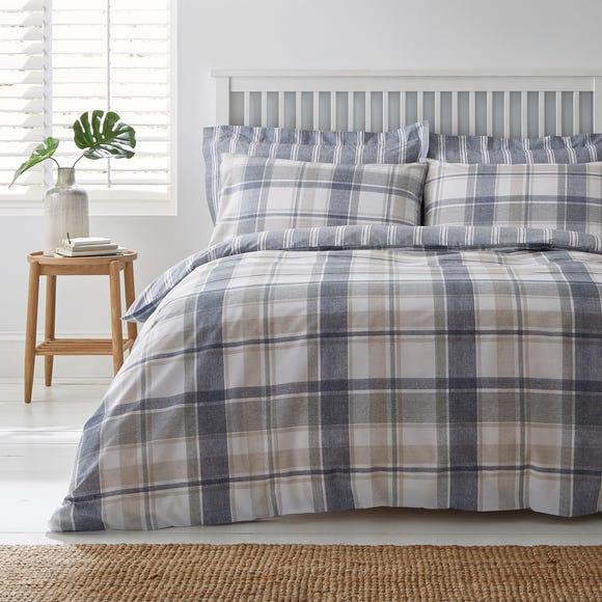 Harrison Blue Reversible Duvet Cover and Pillowcase Set  undefined