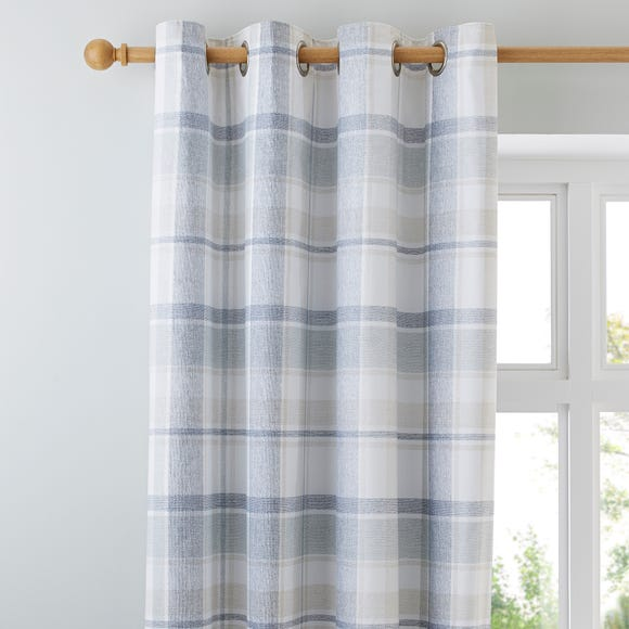Harrison Blue Thermal Eyelet Curtains Blue undefined