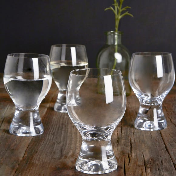 Set of 4 Chunky Wine Glasses Clear