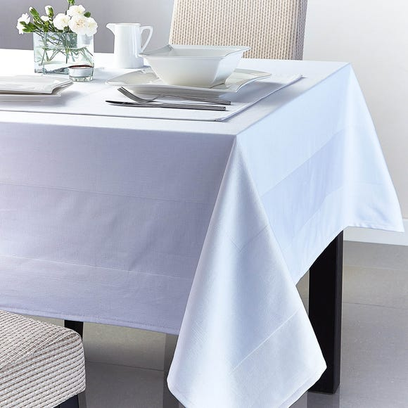 White Jacquard Tablecloth White undefined