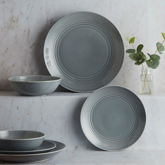 Gordon Ramsay Royal Doulton Grey Maze 12 Piece Dinner Set Grey