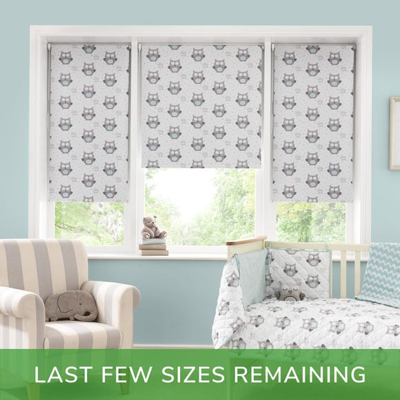 Little Owls Blackout Cordless Roller Blind White undefined