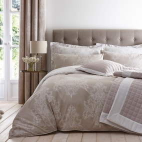 Versailles Natural Reversible Duvet Cover and Pillowcase Set