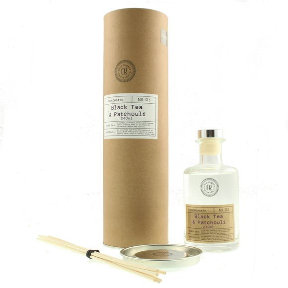 Churchgate Black Tea and Patchouli 240ml Reed Diffuser Clear